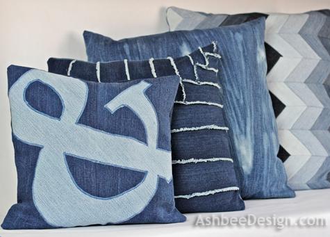 ashbee design old jeans recycled into ampersand pillow 4