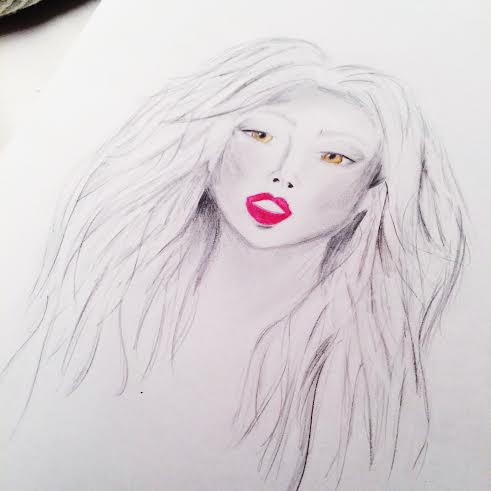 fashion illustration face drawing draw art inspo blog arthur and vogue watercolour sketch pencil black white colour painting hazel eyes lips inspo