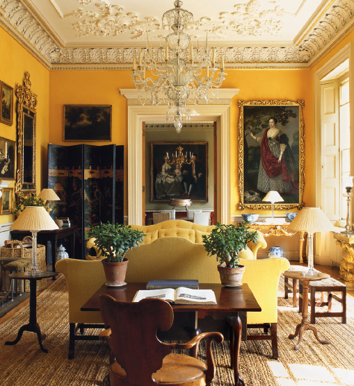 Golden yellow room unknown source via tumblr from world for Living room yellow accents