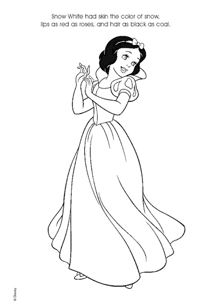 Disney snow white and the seven dwarfs coloring pages for Snow white coloring pages
