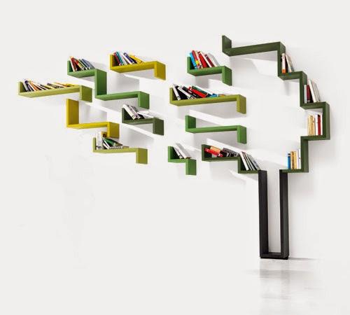 lemari buku sebagai penghias dinding minimalis