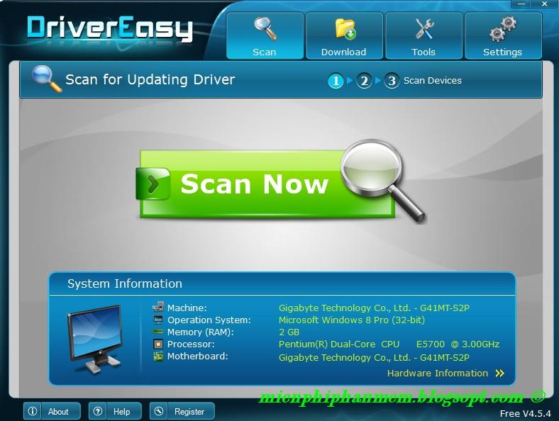Giao diện Driver Easy 4.5.4 sau khi cài xong