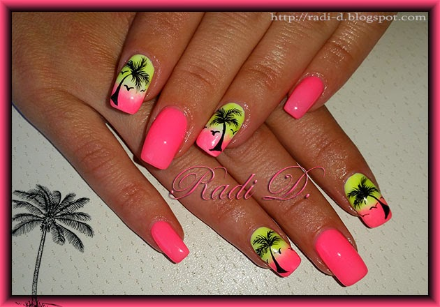 Neon Gel Polish And Palm Trees