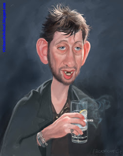 shane mcgowan,the pogues,musician,caricature,vitrina cu bebelouri