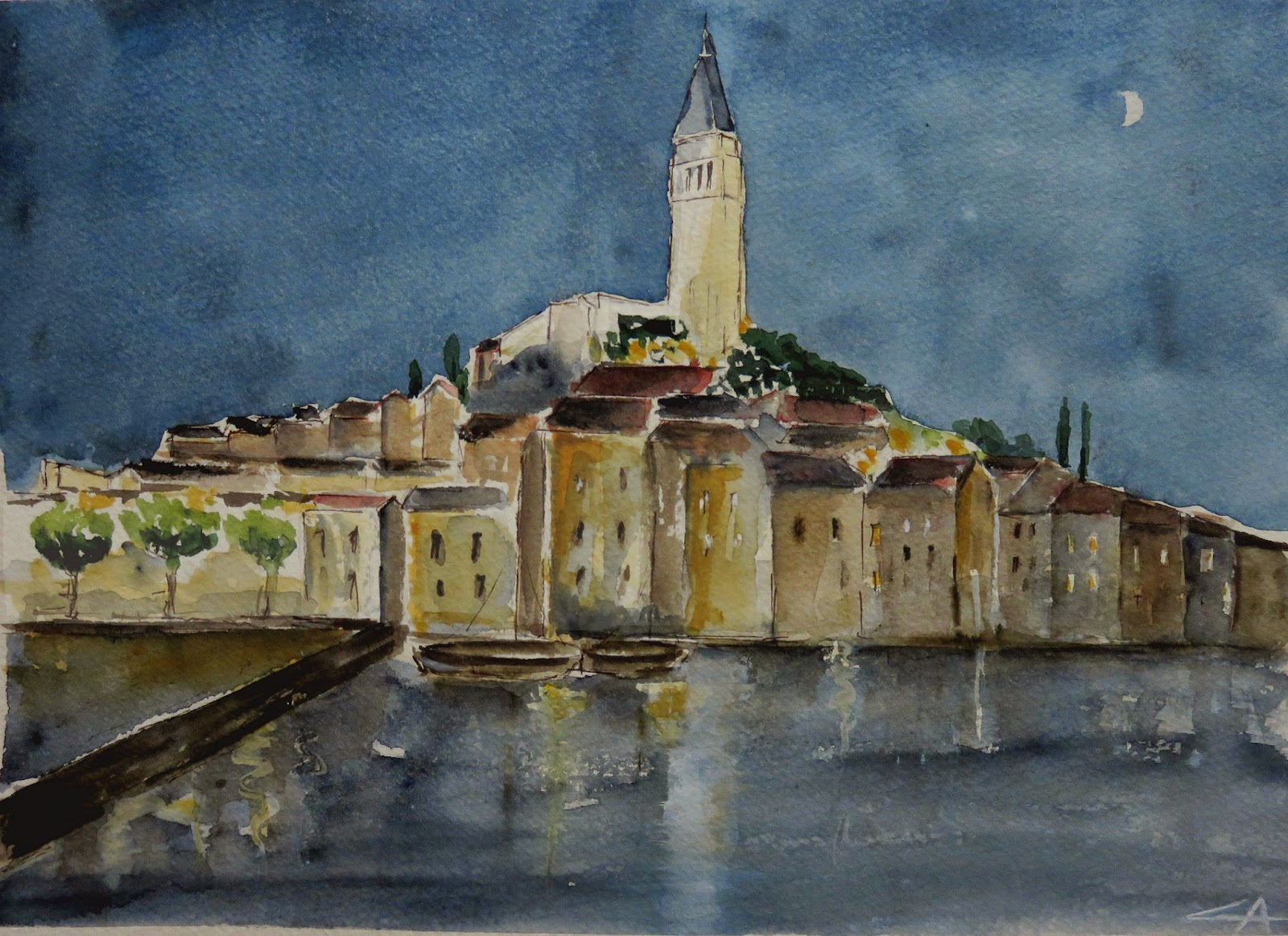 Aquarelle Croatia Rovinj Nuit Watercolor