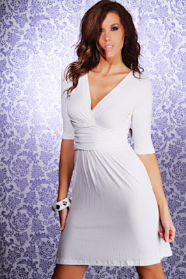 WHITE V NECK PLEADED QUARTER SLEEVE DRESS