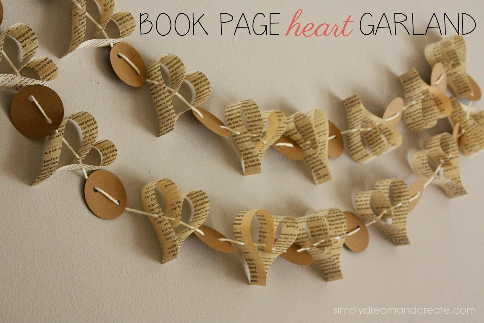 http://www.simplydreamandcreate.com/2014/02/book-page-heart-garland.html
