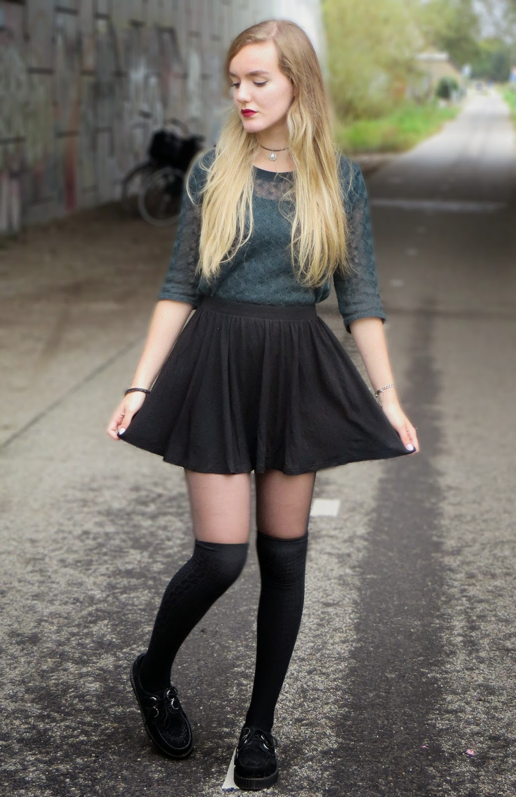 outfit with skater skirt and creepers