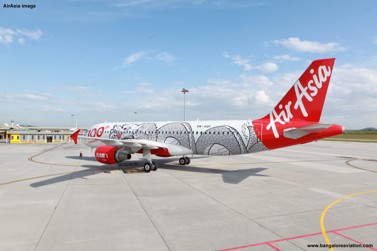 AirAsia 100th Airbus A320. Dragon Livery. 9M-AHQ