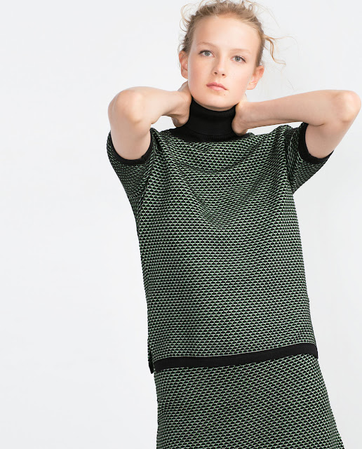 zara green black top
