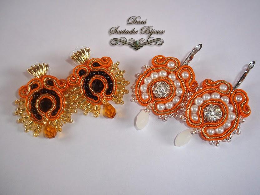 Brincos em soutache laranja e dourado