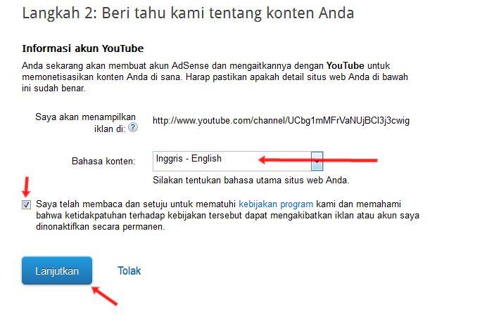 Cara Mudah Membuat Akun Adsense melalui Youtube