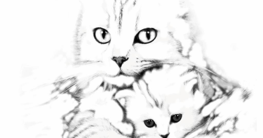 Une p 39 tite balade miribel coloriage maman chat et son chaton - Coloriage de bebe chat ...