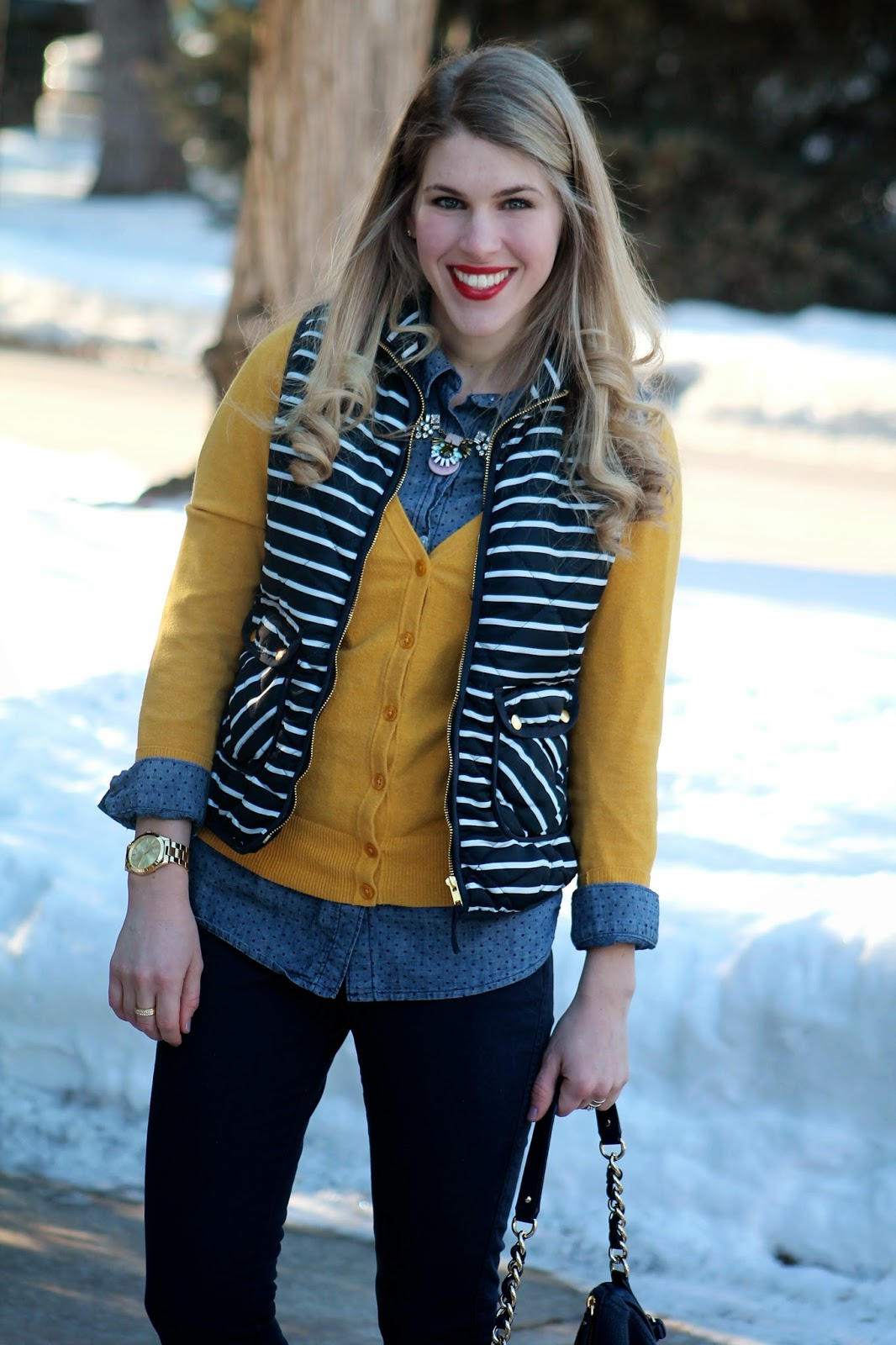 polka dot chambray, mustard cardigan and striped vest