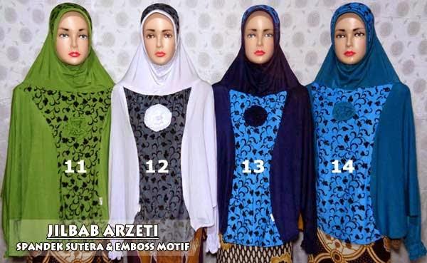 Jilbab arzeti bilbina modern ukuran super jumbo model tangan