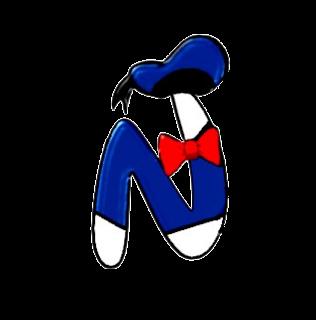 Alfabeto de personajes Disney con letras grandes N Donald.