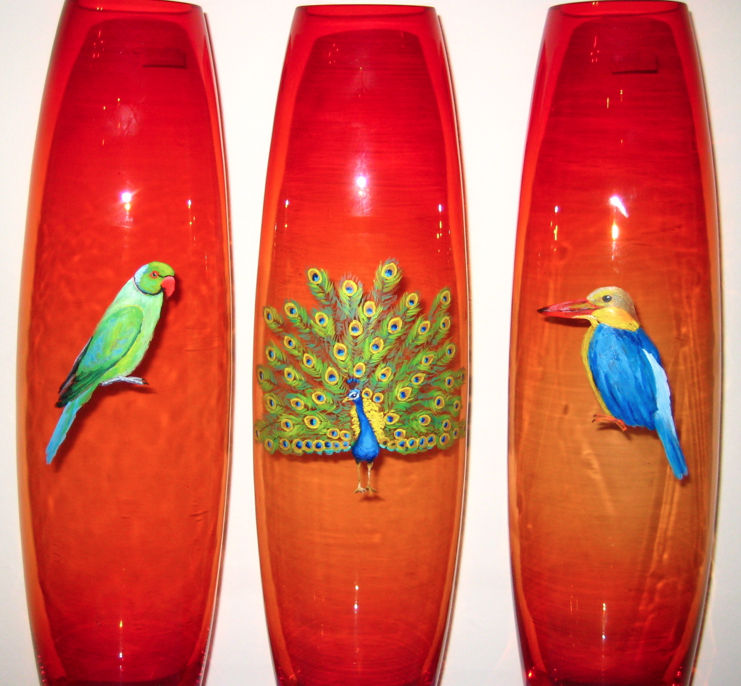painted vases, tropical birds, peacock, parrot