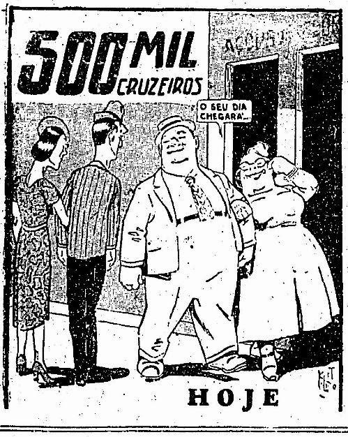 Propaganda que associa obesidade com prosperidade - Loterias Paulista - 1945.