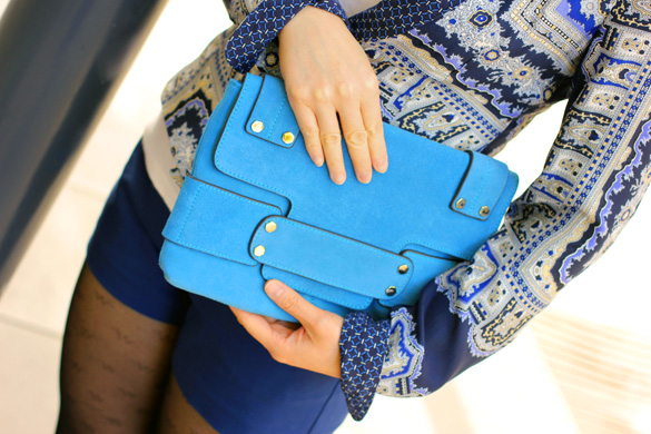 Tony Bianco Blue Clutch