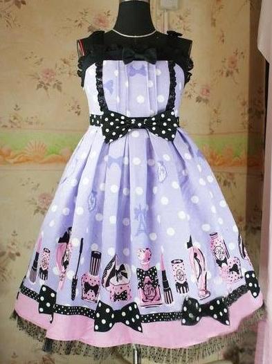 Lavender Printed Dolly Rococo Lolita Dress