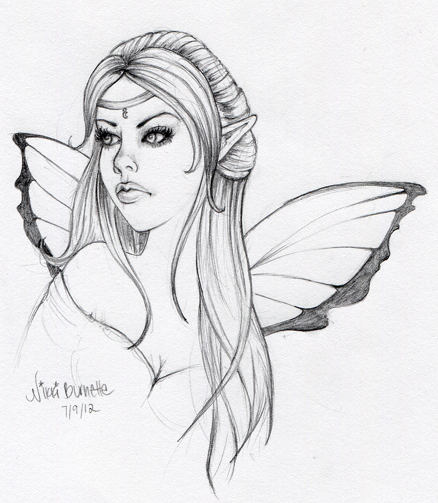 Quick Easy Sketches http://aurella-art.blogspot.com/2012/07/new-fairy-sketch-for-sale-only-20.html