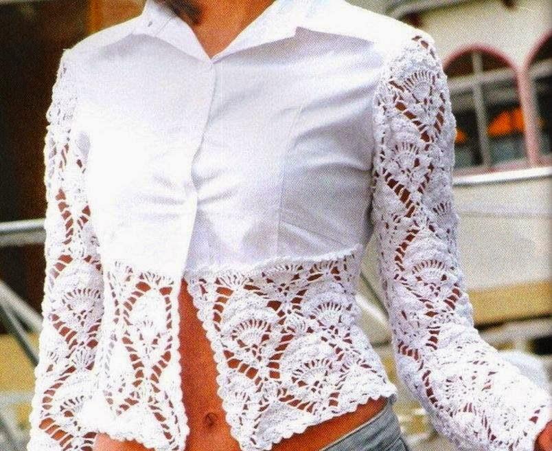 Блузки Ткань Вязаные Мотивы