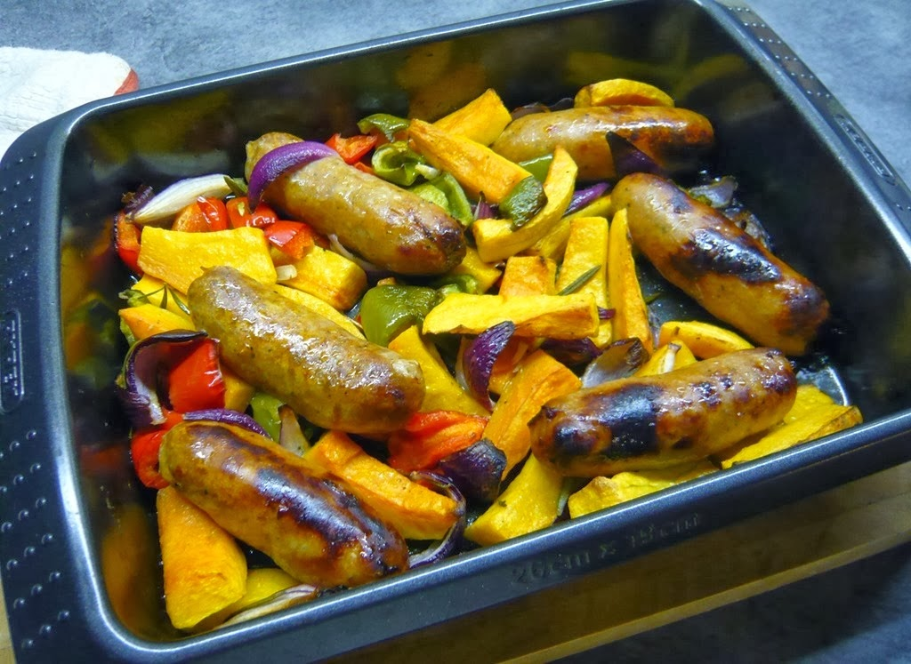 roast squash with sausages