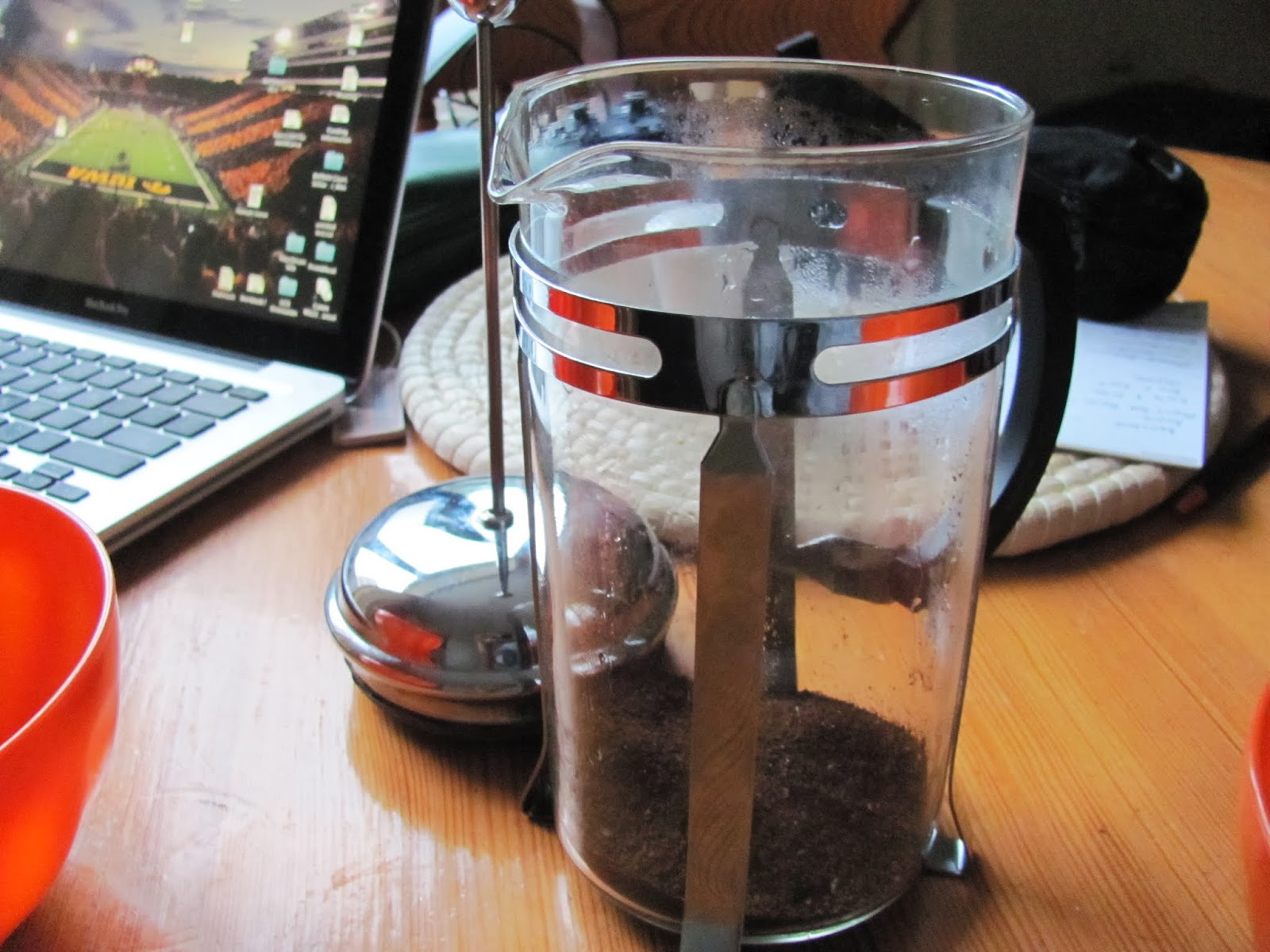 Coffee grounds in a cafetiere French press coffee maker on the table in Dublin, Ireland
