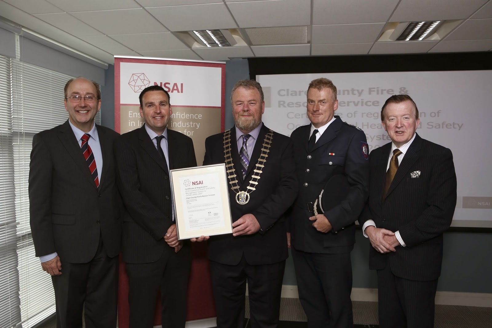 NSAI safety award for Clare County Fire and Rescue Service
