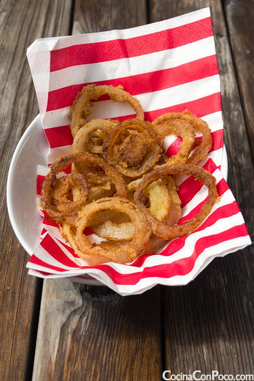 Aros de cebolla fritos caseros - Receta facil paso a paso