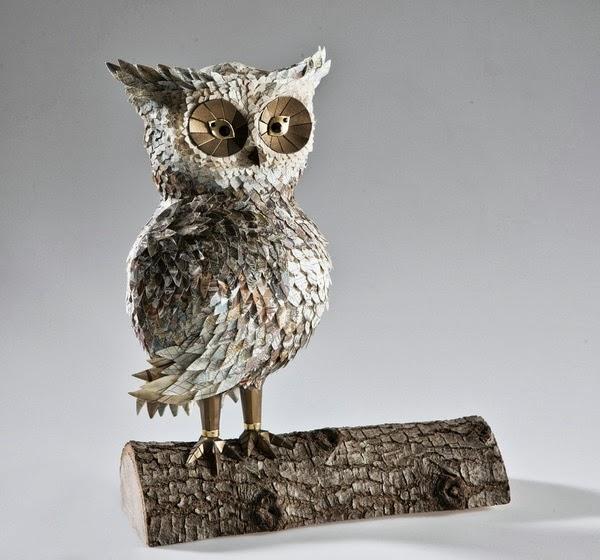 "Junk Book Assemblage Owl Art ""Atlas"" by Makerie Studios"