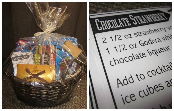 DIY 21st Birthday Gift Basket {Also a link to download 16 FREE cocktail recipe cards}
