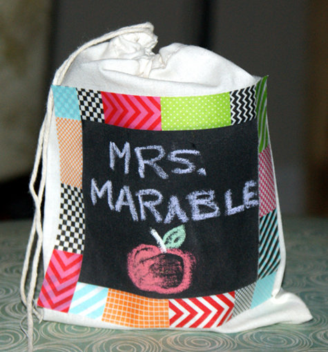 DIY Handmade Chalkboard Paint Teacher Gift Bag Craft Project Idea