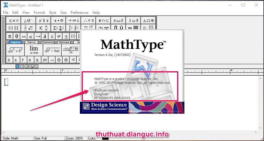 Download MathType 6.9 full key - Phần mềm soạn công thức toán học
