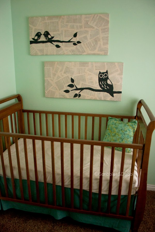 Scribbles&Dabbles: Nursery Makeover -- newsprint art