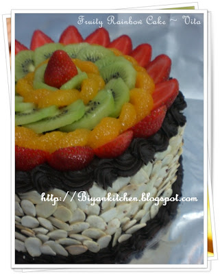 Fresh fruit Rainbow cake