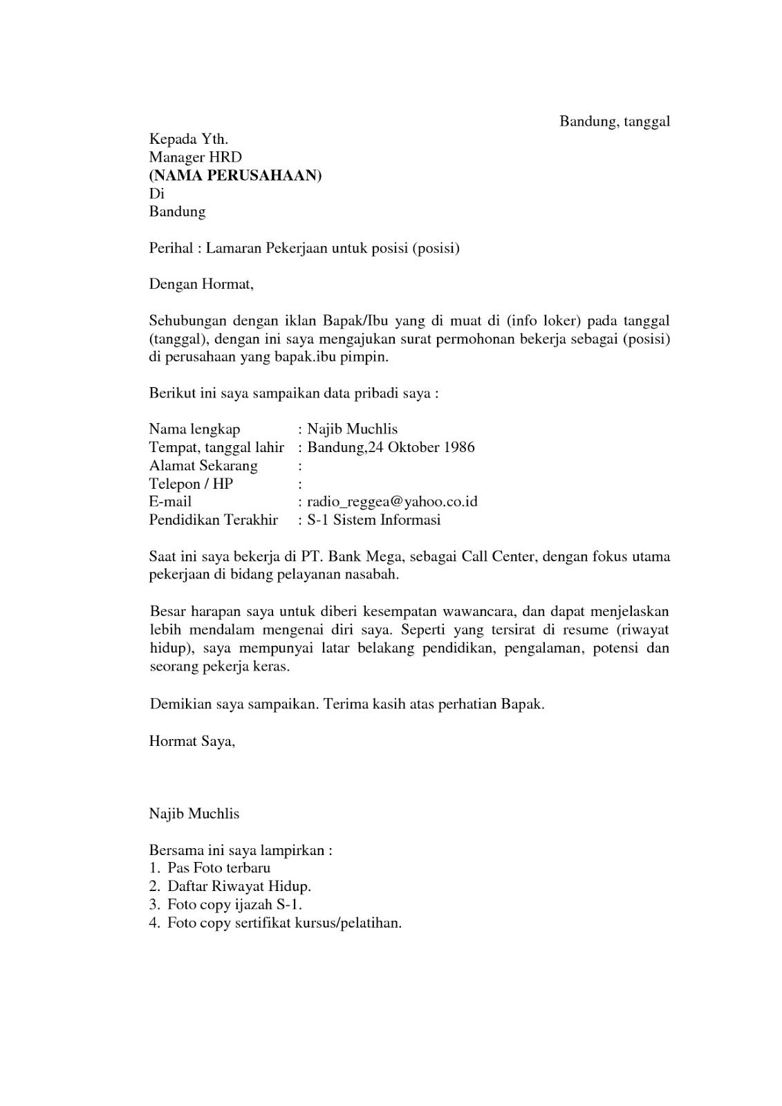 Contoh Surat Lamaran Kerja HRD - ben jobs