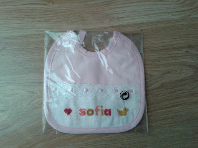 custom baby gift and gift package, embroidered baby bib, upcycled gift package