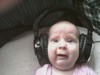 funny picture: baby with headphones