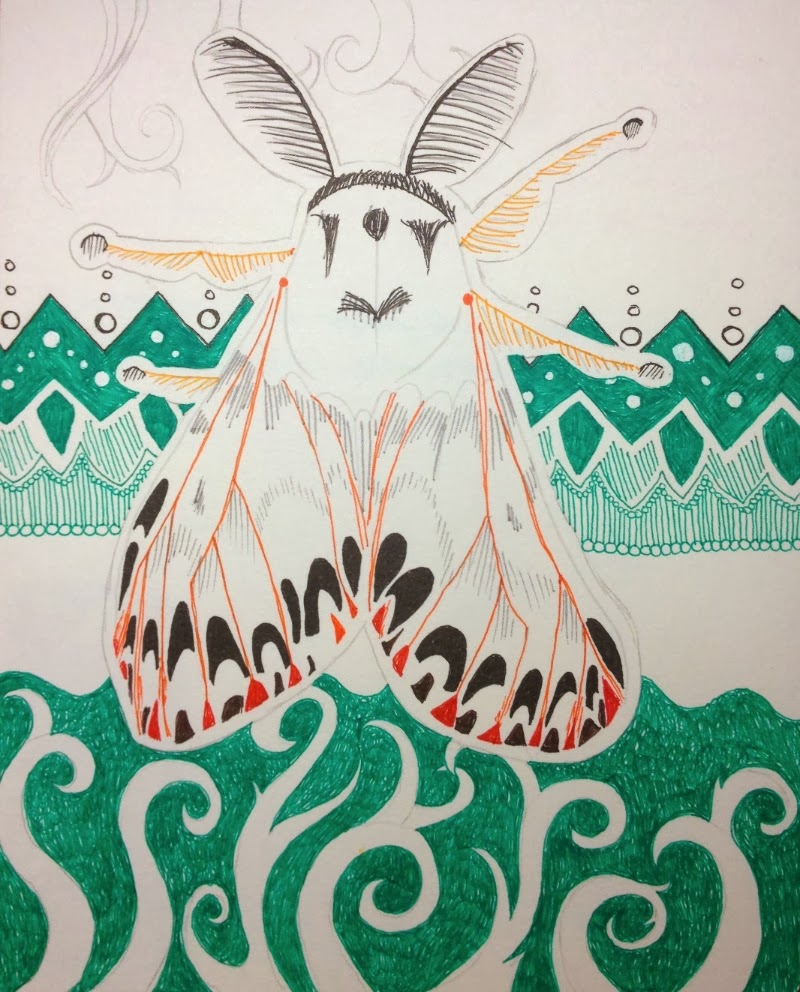 moth with zentangle background by Stephanie Jennifer