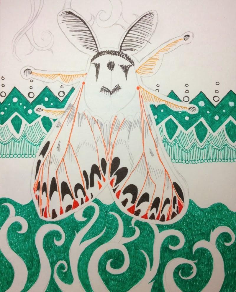 moth with zentangle background by Stephanie Jennifer