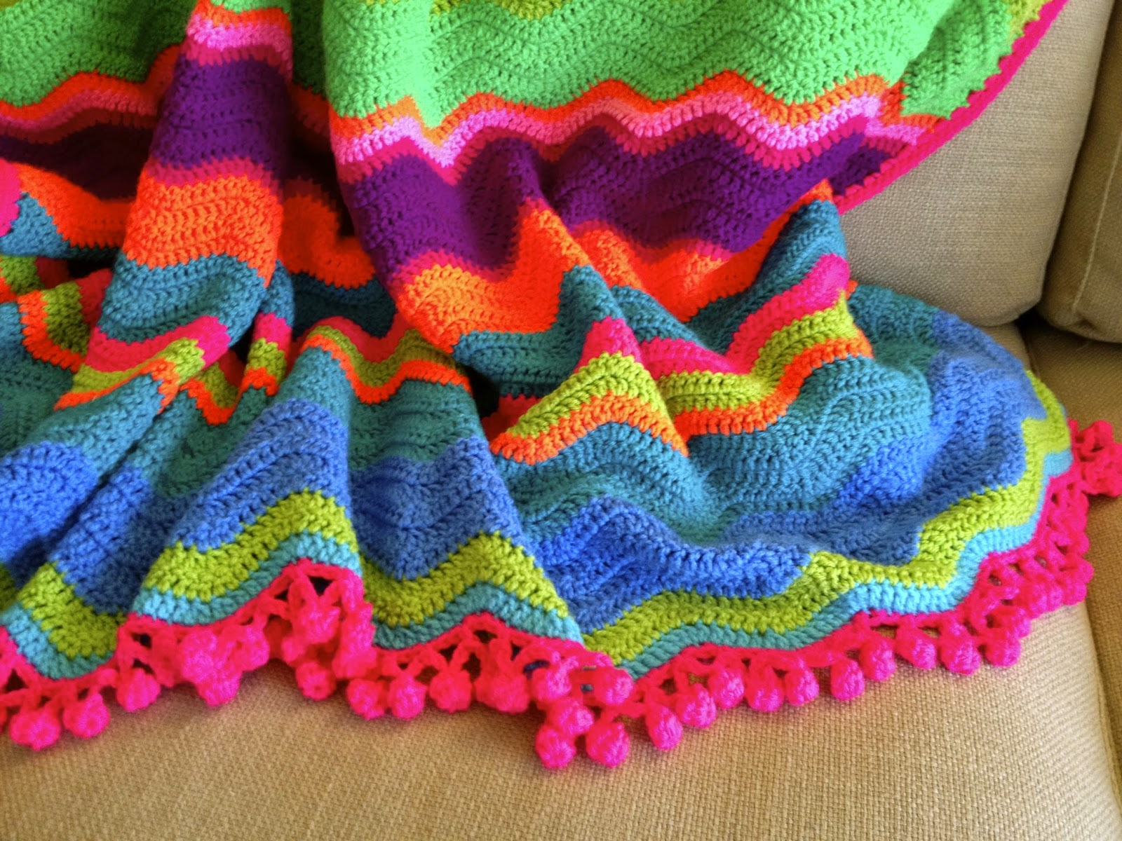 Once Upon A Pink Moon Bright Crochet Waves