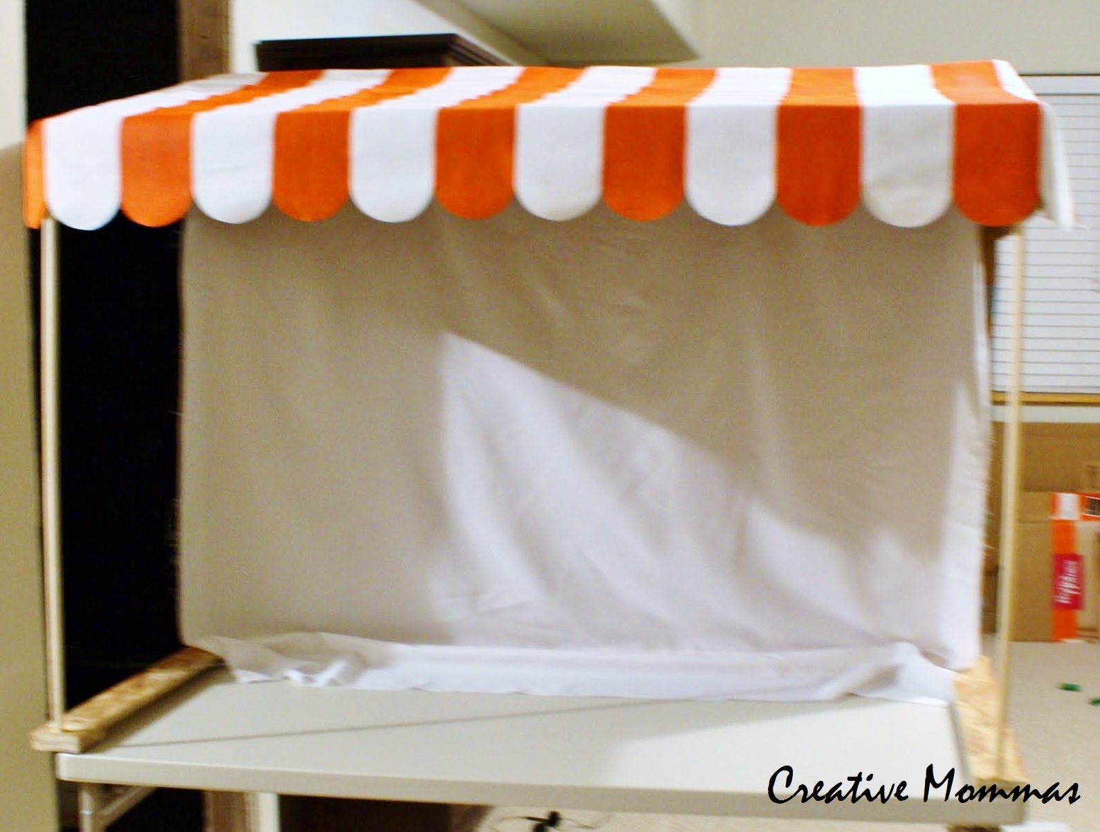 Creative mommas how to make an awning for a party dessert for How to create a canopy