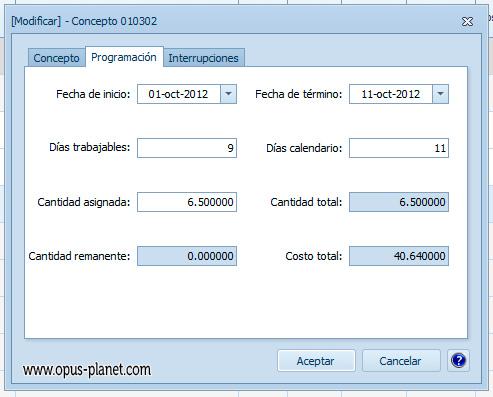 Opus Planet Programar conceptos desde la misma vista del presupuesto