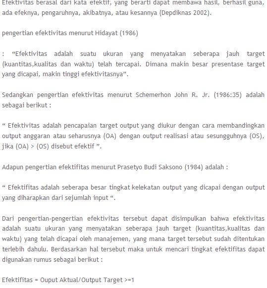 Efektivitas -  Defenisi efektivitas / pengertian efektivitas