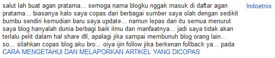 salah satu komentar dari teman blogger