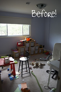 Toy Room With Stripe Walls - Before