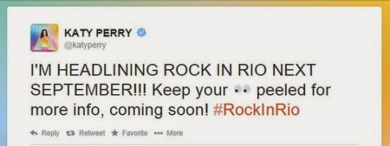Katy Perry confirms participation at Rock in Rio 2015