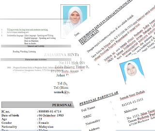 contoh resume kerja kerajaan contoh resume lengkap terkini dan terbaik