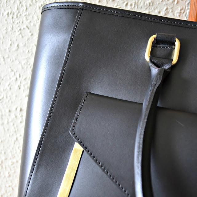 ASOS black leather shopper bag